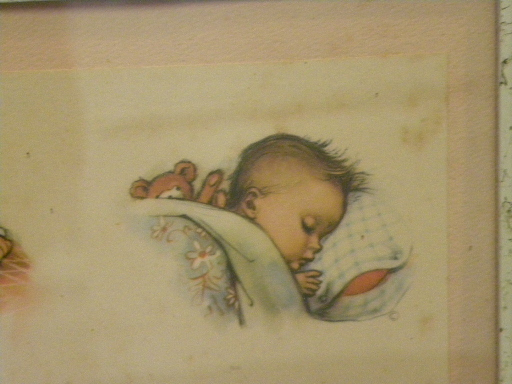 Vintage collectible 1956 print for infant room