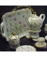 Tea Set for 2 Gold Crosshatch 13538 Dollhouse R... - $36.00