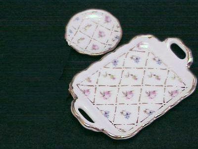 Tea Set for 2 Gold Crosshatch 13538 Dollhouse Reutter Porcelain Miniature 1:12