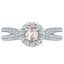 Round Halo Ring Morganite & Diamond Split Shank Engagement 14k White Gold - £510.82 GBP
