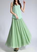 CHIFFON MAXI Skirt Sage-Green Long Silk Chiffon Maxi Skirts Bridesmaid Skirts image 2