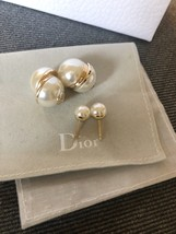AUTH Christian Dior LIMITED EDITION MISE EN DIOR HALF PEARL EARRINGS  image 2