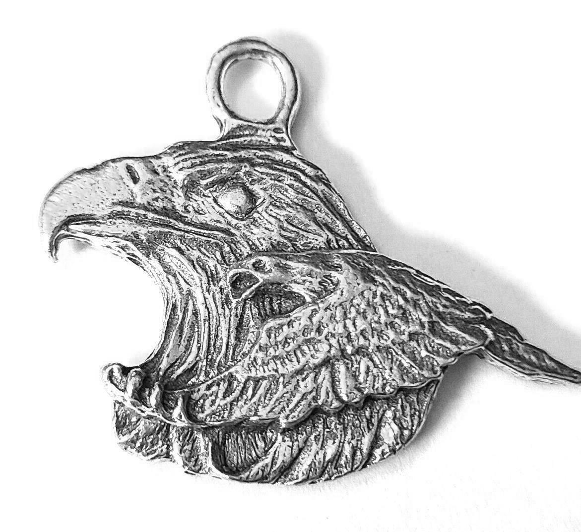 Eagle Fine Pewter Cast Charm Pendant  ~ 1 1/4 Inches Tall     (T217)