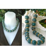 Vintage Choker Necklace Jade Green Glass Beads Marble Goldtone - $29.95