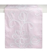 Northeast Home Goods Pink Floral Scroll Embellished Fabric Table Runner,... - $25.97