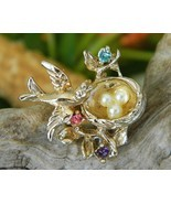Vintage Bird In Nest Brooch Pin Faux Pearl Eggs Rhinestones - $18.95