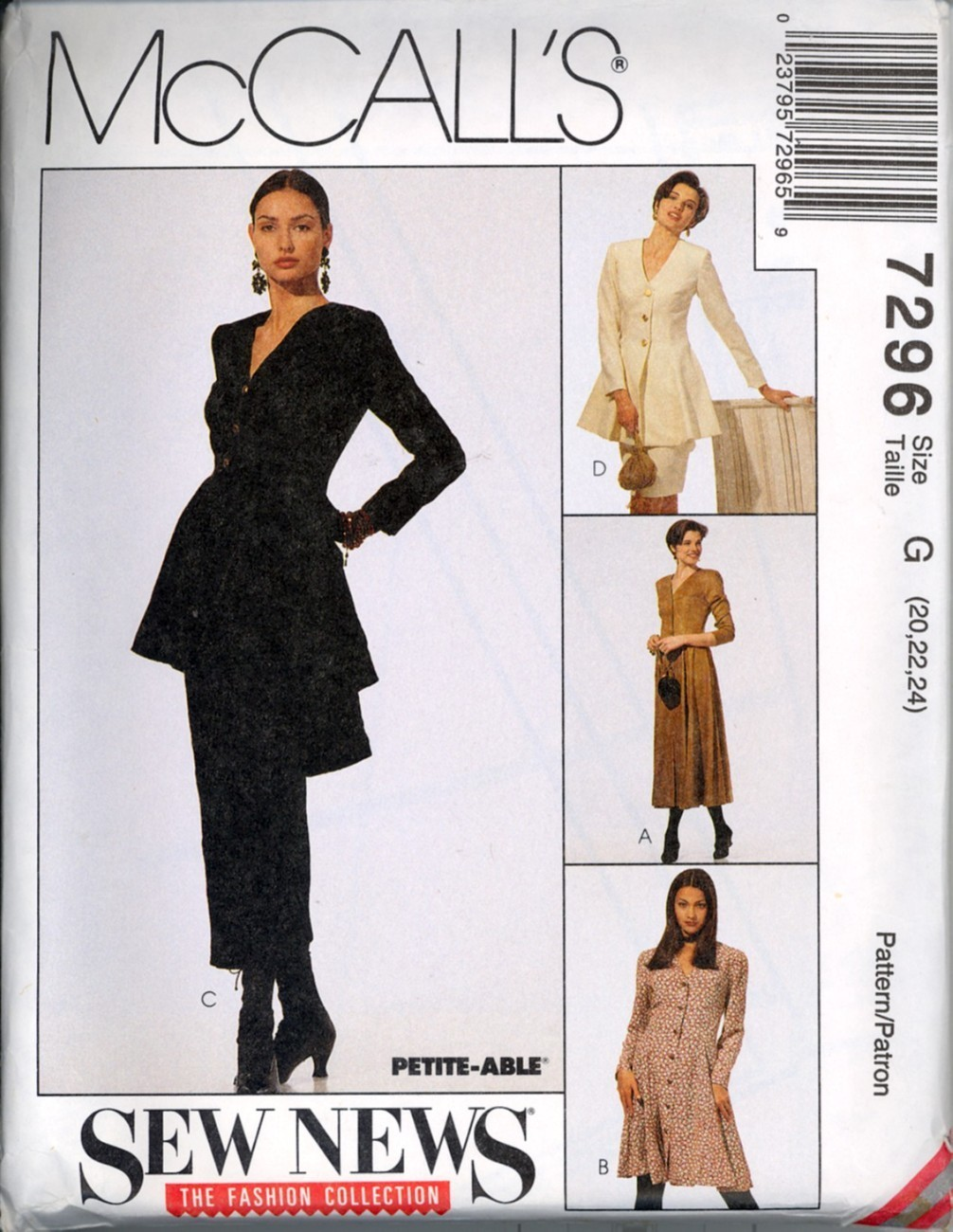 90s Asymmetrical Hem Dress Top Skirt Pattern Sz 20 22 24 New