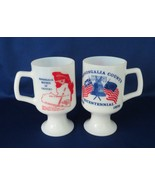 Federal Glass, Footed Mugs, Monongalia County Bicentenial, Patriotic - $9.00