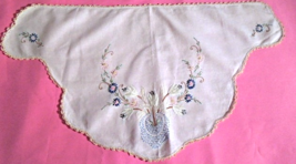 """Vintage Doily / Chair Back Doily WHITE with Floral Embroidery 30""""x16"""" #5108 - $12.00"""