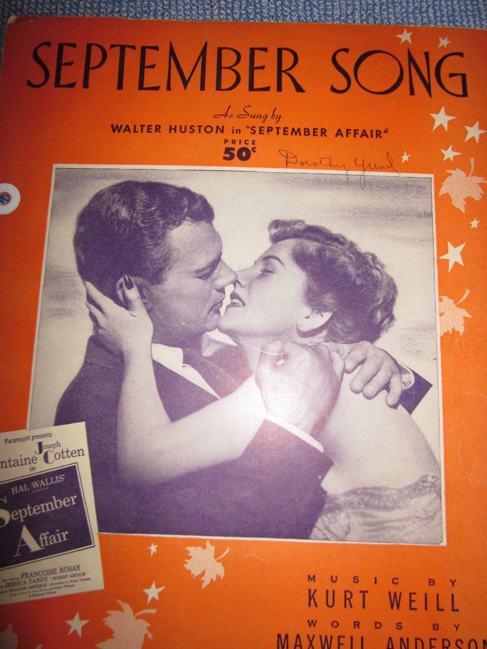 Vintage Sheet Music September Song from Movie September Affair 1938