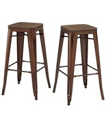 ModHaus Set of 2 Antique Copper Tolix Style Metal Bar Stools with Wood S... - $182.16