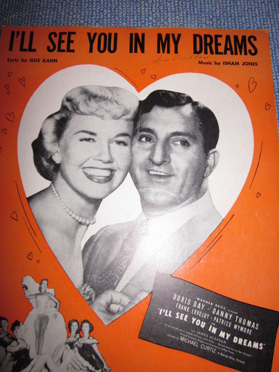 Vintage Sheet Music I'll See You In My Dreams with Doris Day & Danny Thomas 1924