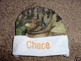Personalized  Boys Baby Infant Newborn Hat Cap Camouflage Camo Blue trim  - $16.99