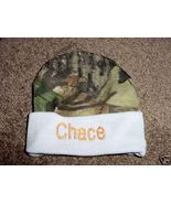 Personalized  Boys Baby Infant Newborn Hat Cap Camouflage Camo Blue trim  - $16.99
