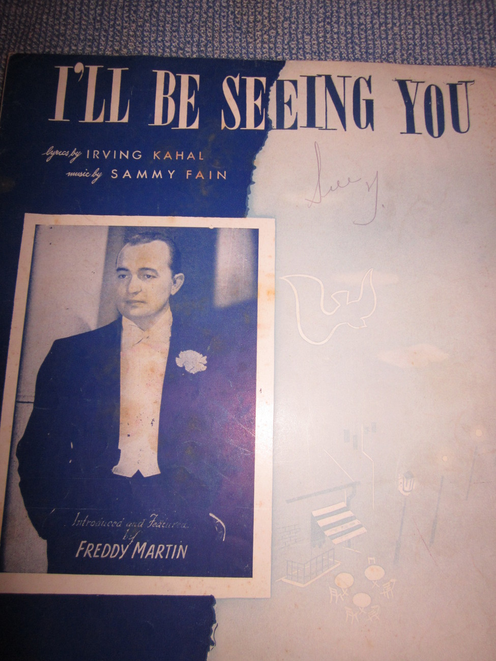Vintage Sheet Music I'll Be Seeing You  as done by  Freddy Martin 1938