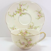 Theo Haviland NY Rosalinde Cup and Saucer 6 oz Ivory Porcelain Pink - $13.86