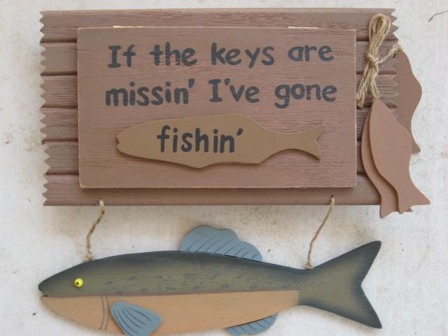 Fishing theme key holder rack box wood wall decor man cave for Fishing decor for man cave