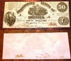 CONFEDERATE STATES T14  $50  1861,RICHMOND  Criswell #59.  Moneta and Ch... - $791.01