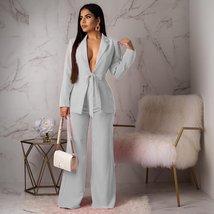 Women Brand Fashion Sexy Deep VNeck Long Sleeve White Blazer And Pant Wear To Wo