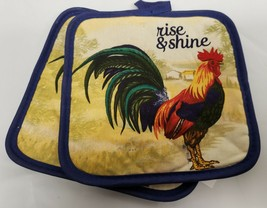 "2 PRINTED Kitchen Pot Holders, ROOSTER, RISE & SHINE, 7"" x 7"", blue back... - $7.91"