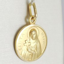 SOLID 18K YELLOW GOLD HOLY ST SAINT SANTA RITA ROUND MEDAL MADE IN ITALY, 11 MM image 2