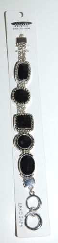 Icon Collection Silver Color  Bracelet Toggle Clasp Lead Safe Black Plastic Gems