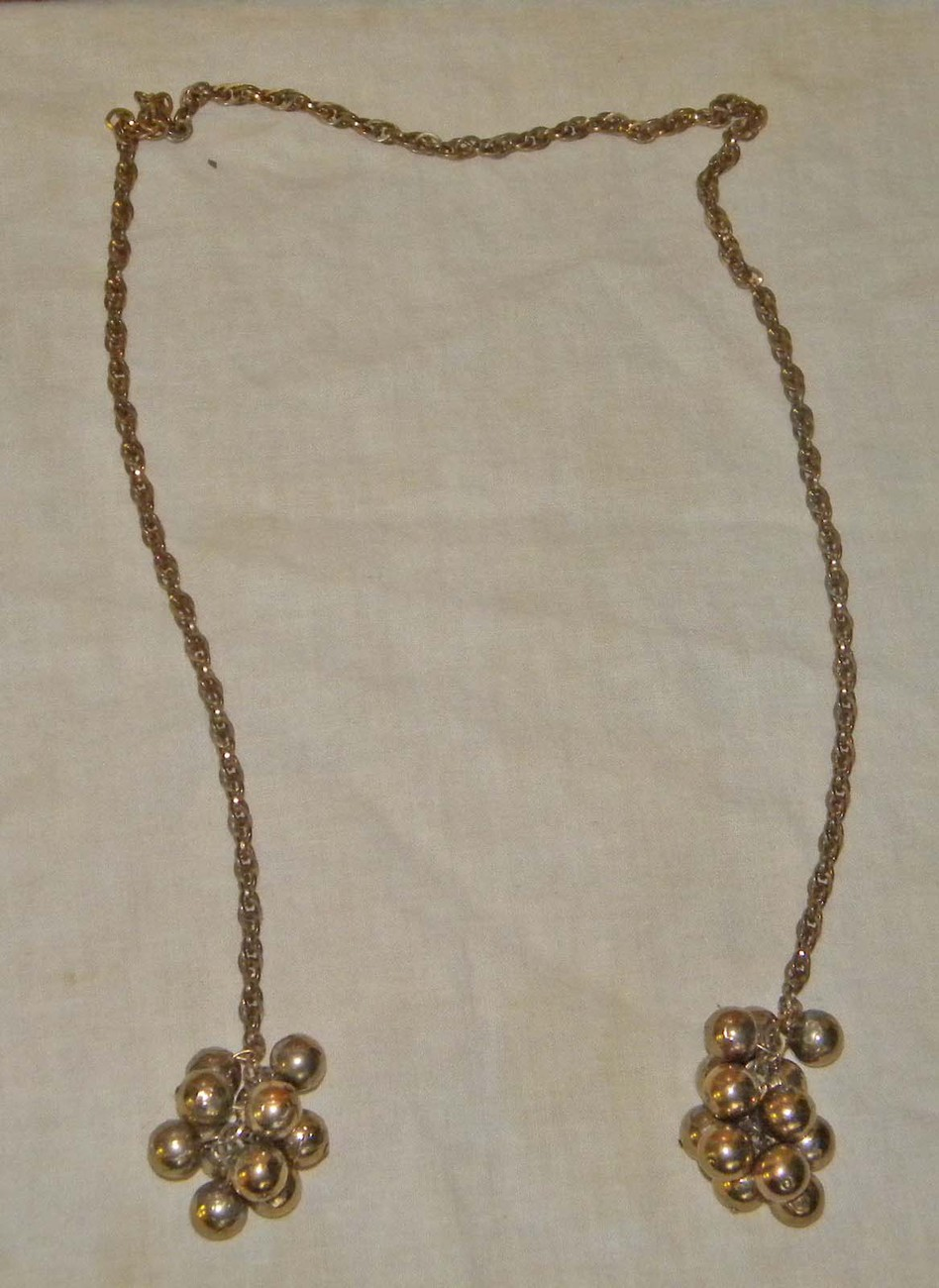 Vintage brass colored sweater clips sweater chains