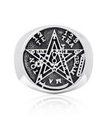 925 Sterling Silver Tetragrammaton Ceremonial Magic Seal of Solomon Ring - $37.95