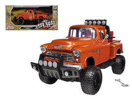 1955 Chevrolet 5100 Stepside Pickup Truck Off Road Orange 1/24 Diecast M... - $39.95