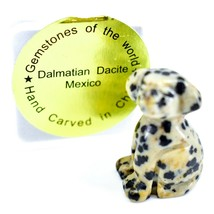 Dalmatian Dacite Gemstone Tiny Miniature Spotted Dog Figurine Hand Carved China image 1