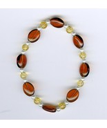 Handmade Handcrafted Beaded Bracelet Brown Amber Yellow White Glass Beads - $2.50