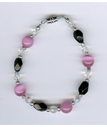Handmade Handcrafted Beaded Bracelet Black Pink Clear AB Beads - $5.00