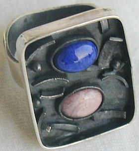 oxidized pink and blue ring