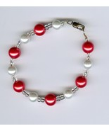 Handmade Handcrafted Beaded Bracelet White Salmon Clear Beads - $3.50
