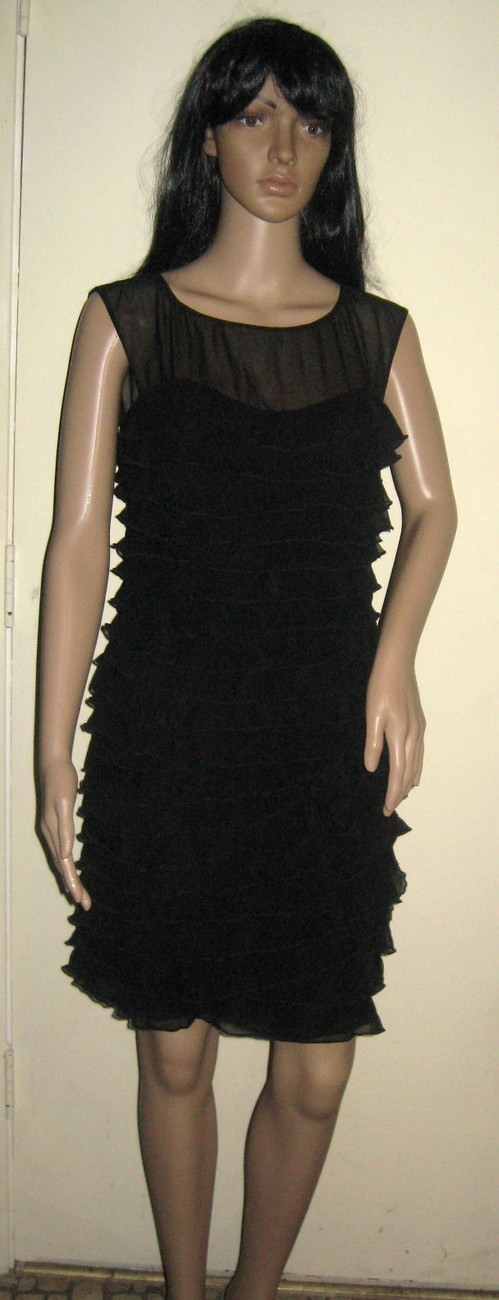 Primary image for NEW! Express Black Detailed Sweetheart Ruffle Dress - Size 12- MSRP $100