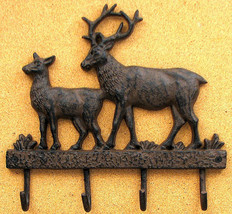 Large Cast Iron Deer Wall Hooks Hanger Coat / Hat Rack Rustic Brown - $29.69