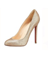 NWT Women's Gold Upper Red sole Stiletto 4.5 inchs High heel Pump Size 5-8 - $64.00