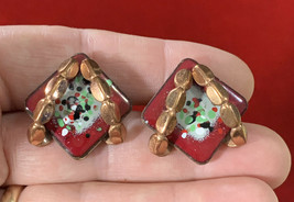 Vintage Copper & Enamel Renoir Matisse Earrings Converted To Pierced Posts - $9.75