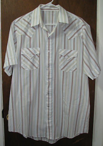 Men's Western SS Pearl Snap Shirt Size Large Striped