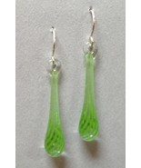 Clover Green Twist Pyrex Glass Earrings Teardrop Pierced Handcrafted Dangle - $38.00