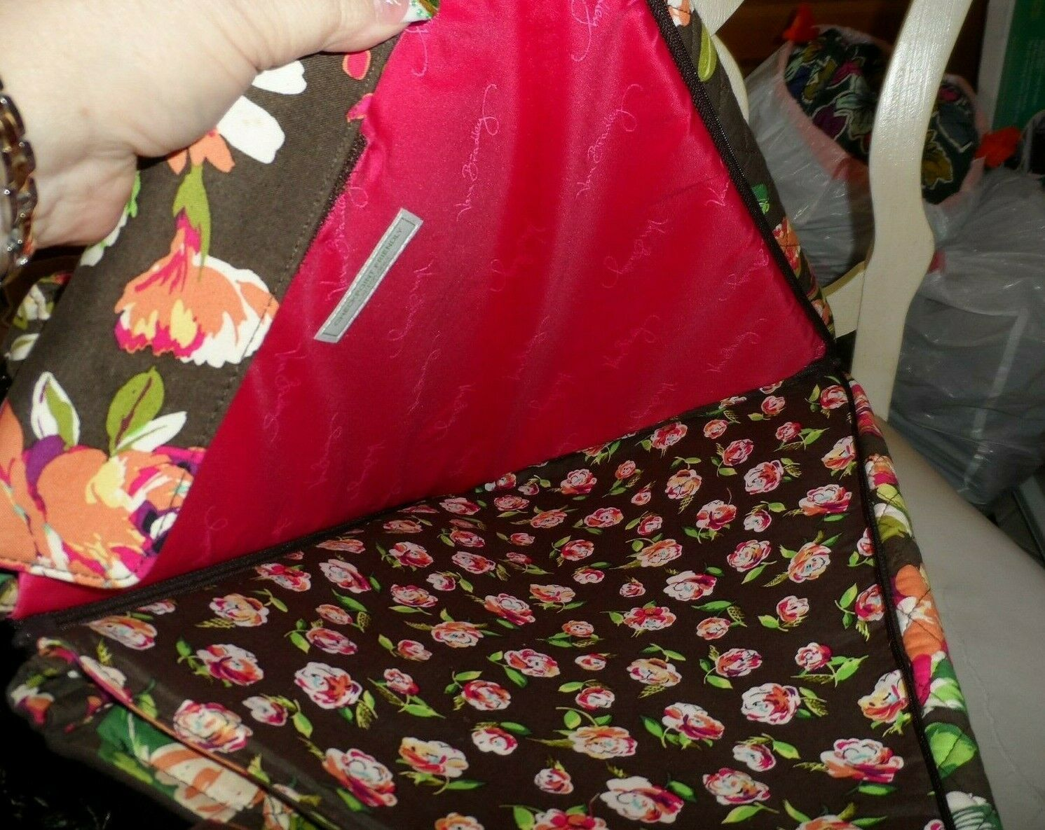 Vera Bradley laptop Travel Tote In English Rose image 5