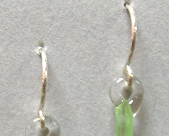 Clover Green Twist Pyrex Glass Earrings Teardrop Pierced Handcrafted Dangle