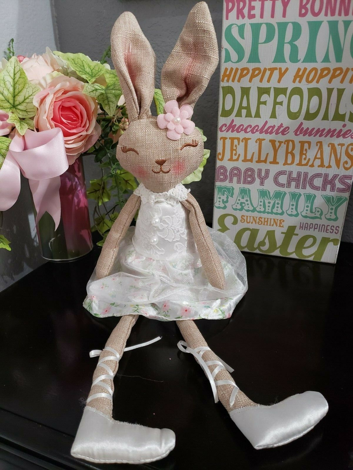 "Primary image for Easter Girl Bunny Rabbit Fabric Shelf Sitter Tabletop Doll Decor 20"" ADORABLE!!"