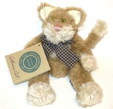 Boyds Bears Catherine Q Fuzzberg Cat W Green Eyes, Gingham Bow & Hangtag - $19.95
