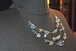 Napier 3 Strand Wire Necklace Blue Clear & Silver Beads Vintage Necklace image 6