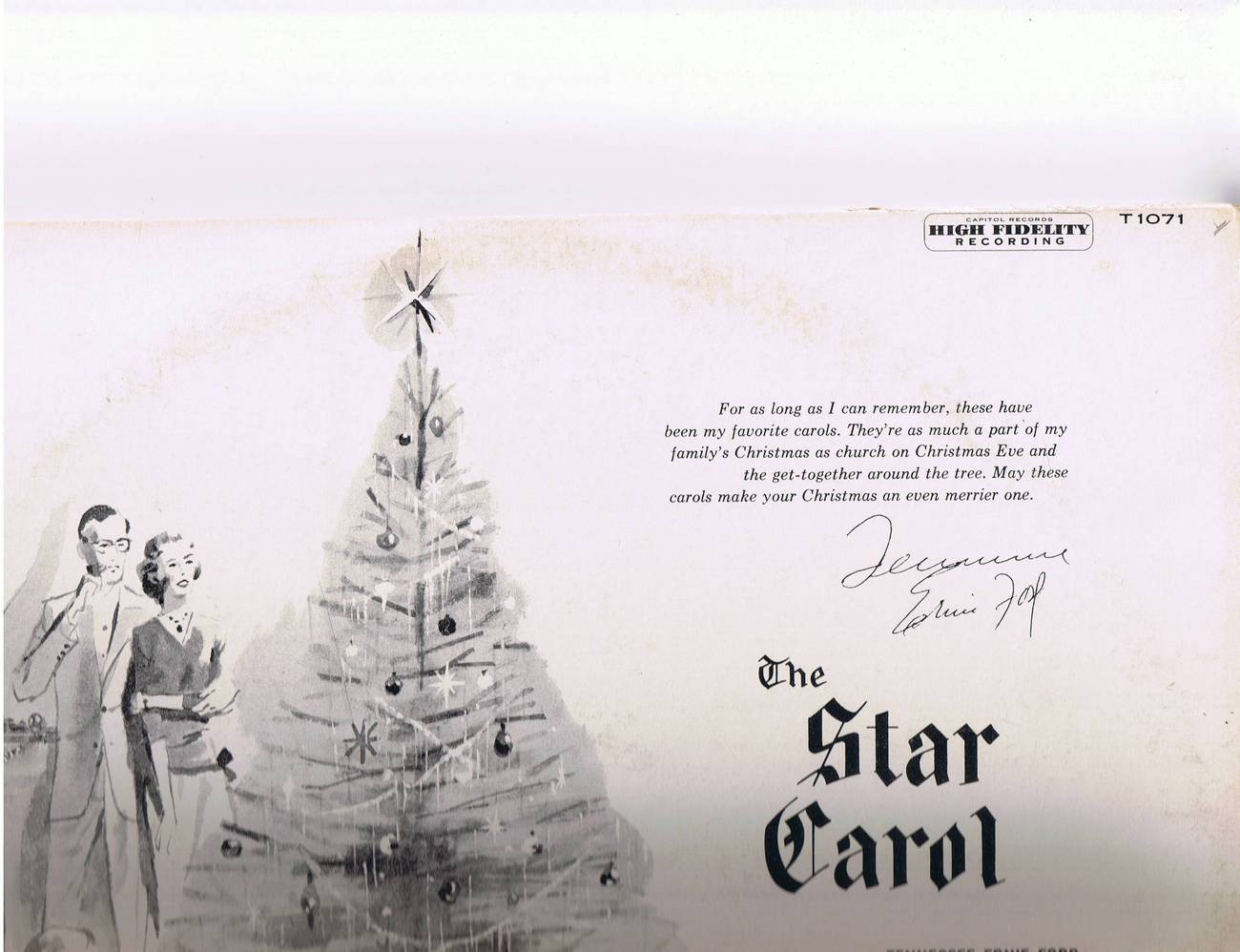 Tennessee Ernie Ford - A Star Carol - Capitol T 1071 - Autographed/Signed