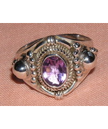 Amethyst and Sterling Silver Crown Ring size 8 1/4 - $29.00