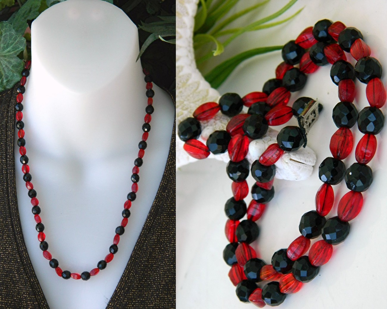 Vintage black jet red art glass faceted beads necklace japan