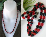 Vintage black jet red art glass faceted beads necklace japan thumb155 crop
