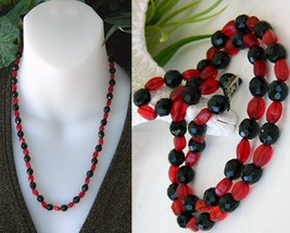 Vintage Black Jet Red Art Glass Faceted Beads Strand Necklace Japan - $21.95